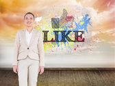 Composite image of smiling asian businesswoman walking — Stock Photo