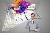 составное изображение счастливой бизнесмена, держа в буфер обмена — Стоковое фото