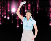 Furious classy businesswoman throwing her calculator — Stok fotoğraf