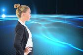 Sammansatt bild av affärskvinna står med händerna på höfterna — Stockfoto