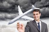 Image composite du jeune homme d'affaires, écrire quelque chose — Photo