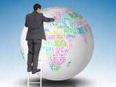 Obraz kompozytowy biznesmen stojąc na drabinie — Zdjęcie stockowe