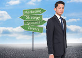 Composite image of illustration of signposts with marketing terms — Stock Photo