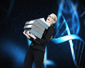 Overworked businesswoman carrying many folders — Foto Stock