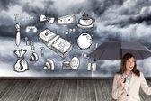 Podnikatelka hospodářství černý deštník — Stock fotografie
