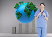 Medical intern wearing a blue short-sleeve uniform — Stock Photo