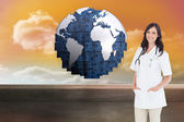 Woman doctor standing in front — Stock Photo
