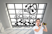 Composite image of astonished elegant businesswoman holding binoculars — Stock Photo