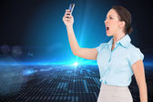 Classy businesswoman yelling at her smartphone — Stock Photo