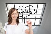 Složený obraz úsměvu podnikatelka hospodářství značka — Stock fotografie
