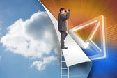 Composite image of businessman standing on ladder using binoculars — Stock Photo
