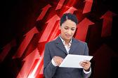 Saleswoman with her touch screen computer — Zdjęcie stockowe