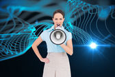 Composite image of furious classy businesswoman talking in megaphone while posing — Stock Photo