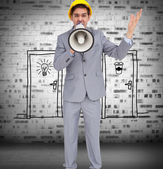 Architect with hard hat shouting with a megaphone — Stock Photo