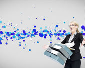 Businesswoman dropping many folders — Stock Photo