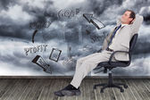 Businessman leaning back in his chair — Stock Photo