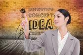 Saleswoman operating touchscreen — Foto Stock