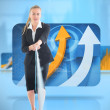 Stock Photo: Composite image of businesswoman pulling a rope