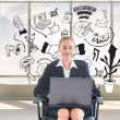 Stock Photo: Composite image of businesswomsitting on swivel chair with laptop