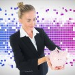 Stock Photo: Composite image of businesswomholding piggy bank