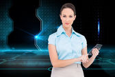 Composite image of serious classy businesswoman using calculator — Stock Photo