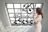 Composite image of profile view of doubtful businesswoman standing — Stock Photo