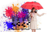 Happy businesswoman holding umbrella — Stock Photo