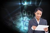 Saleswoman with her touch screen — Zdjęcie stockowe