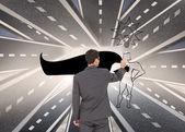 Imagen compuesta del empresario parado a cámara escribiendo con marcador — Foto de Stock