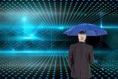 Složený obraz podnikatel drží deštník — Stock fotografie