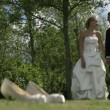 Bride and groom standing outside on a sunny day — Stock Video