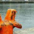 Stock Video: Orange bollard on dock