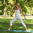 Beautiful blonde woman doing yoga — Stock Video