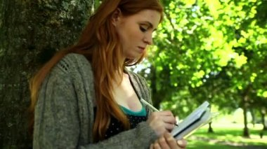 Concentrated redhead doing assignments sitting on lawn — Stock Video