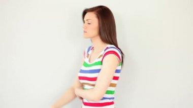 Thoughtful brunette posing — Stock Video
