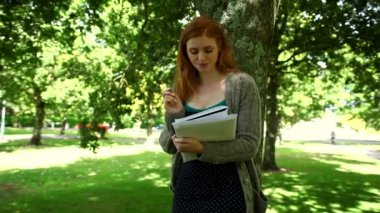 Redhead doing assignments standing in park — Stock Video