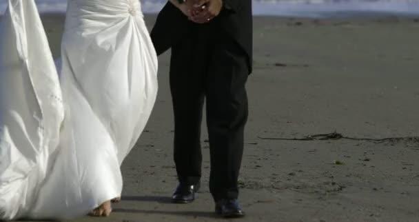 Couple de jeunes mariés souriants marchant sur la plage — Vidéo