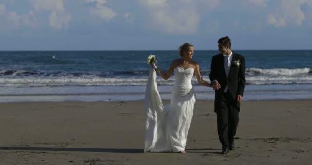 Couple de jeunes mariés marchant sur la plage — Vidéo