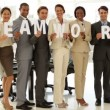 Happy business people holding letters spelling teamwork — Stock Video #39158451
