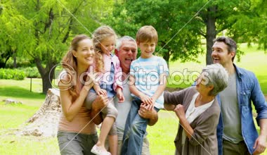 Multi generation family posing and laughing at camera in a park — Stock Video
