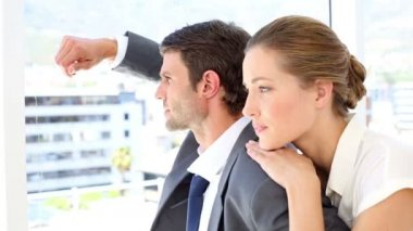 Businesswoman leaning on her colleagues shoulder — Stock Video