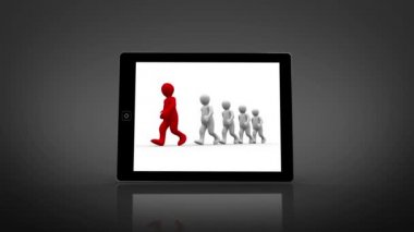 White and red characters walking displayed on digital tablet — Stock Video