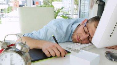 Handsome businessman sleeping — Stock Video