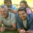 Multi generation family smiling and lying on ground in a park — Stock Video #39163635