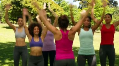 Fitness class doing star jumps together — Stock Video