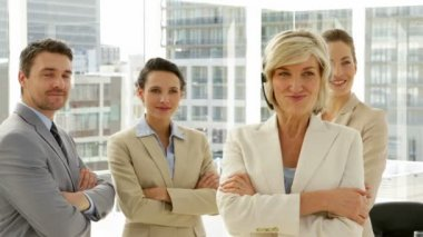 Happy confident business team — Stock Video