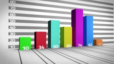 Colourful bar chart growing — Video Stock