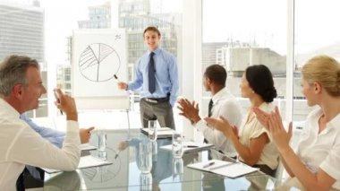 Business people applauding their colleague after presentation — Vídeo Stock