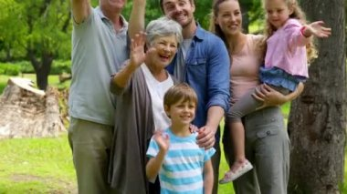 Multi generation family posing and waving at camera in a park — Stock Video