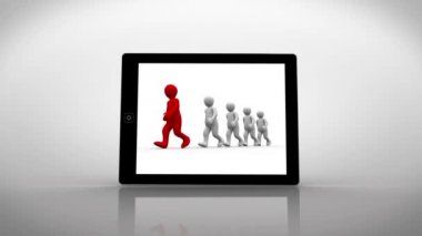 White and red characters walking displayed on tablet pc — Stock Video